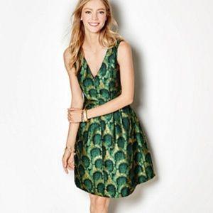 Peacock Jacquard Dress Green Gold